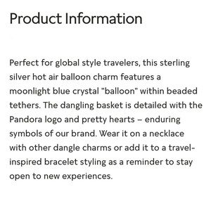 Pandora Jewelry - PANDORA Blue Hot Air Balloon, Travel Charm, NWT